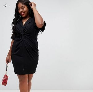 ASOS Curve Front Knot Shirt Dress